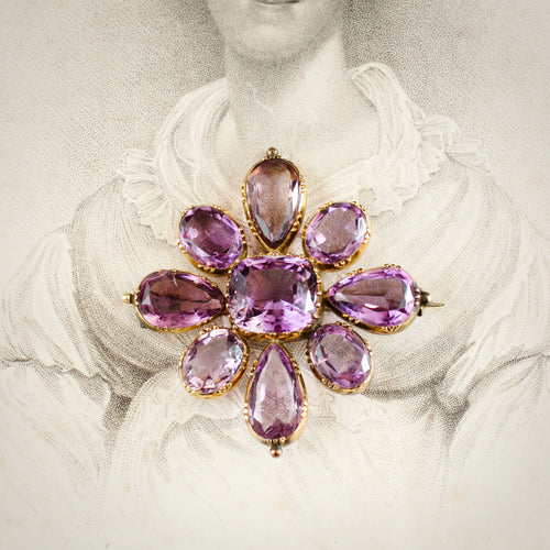 A Magnificent 1820's Gold Amethyst & Paste Maltese Cross Brooch