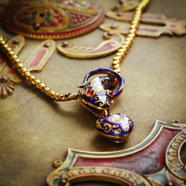 A Beautifully Charming Antique Victorian Enamelled Ouroboros Snake Necklet
