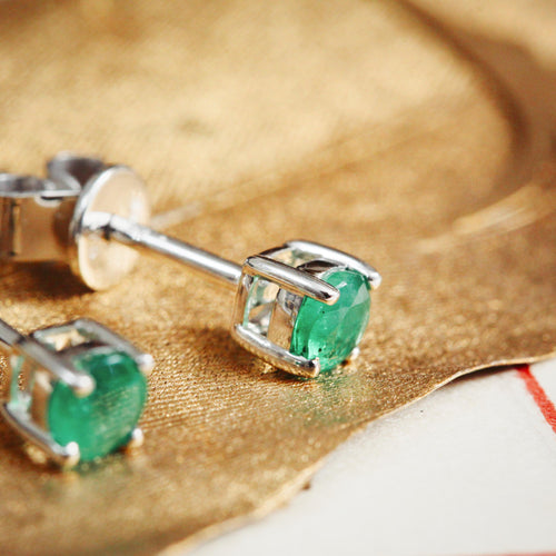 Stunning Verdant Green Emerald Stud Earrings