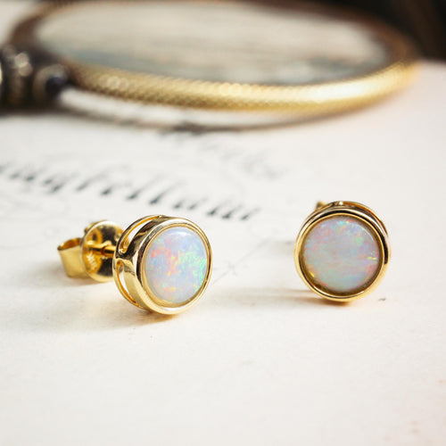 Top Quality 18ct Gold Crystal Opal Stud Earrings
