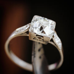 1.39ct Old European Cut Diamond Solitaire Engagement Ring