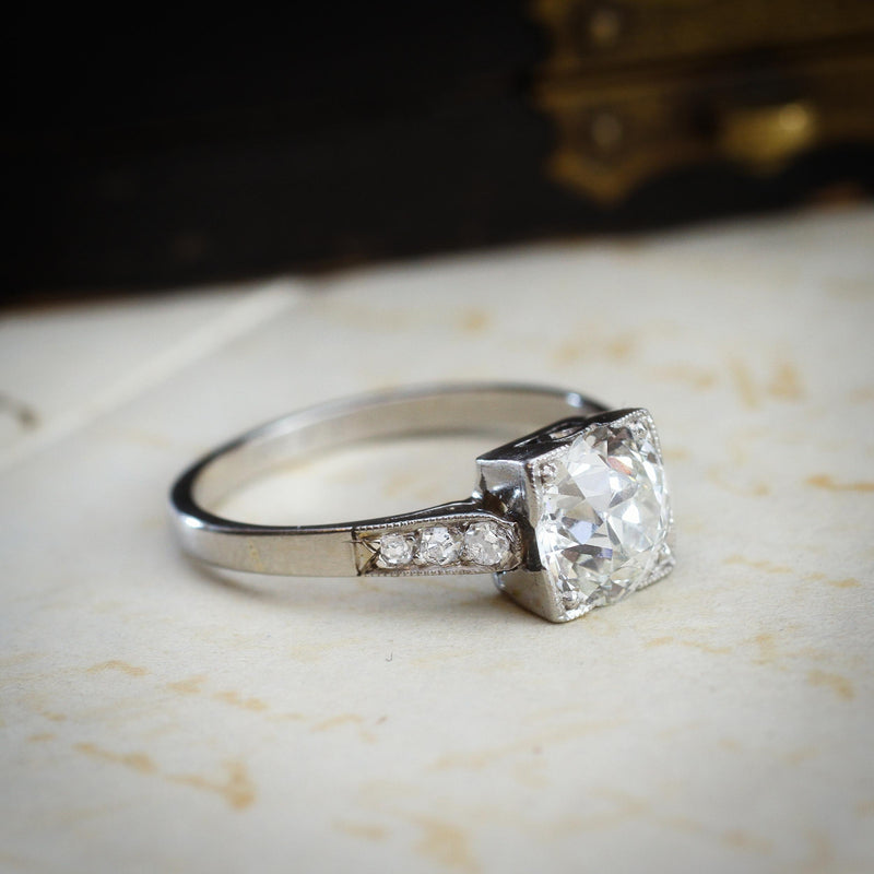 Vintage 1.39ct Old European Cut Diamond Solitaire Engagement Ring
