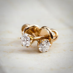 A Super-Dazzling Pair of 0.55ct Brilliant-cut Diamond Stud Earrings