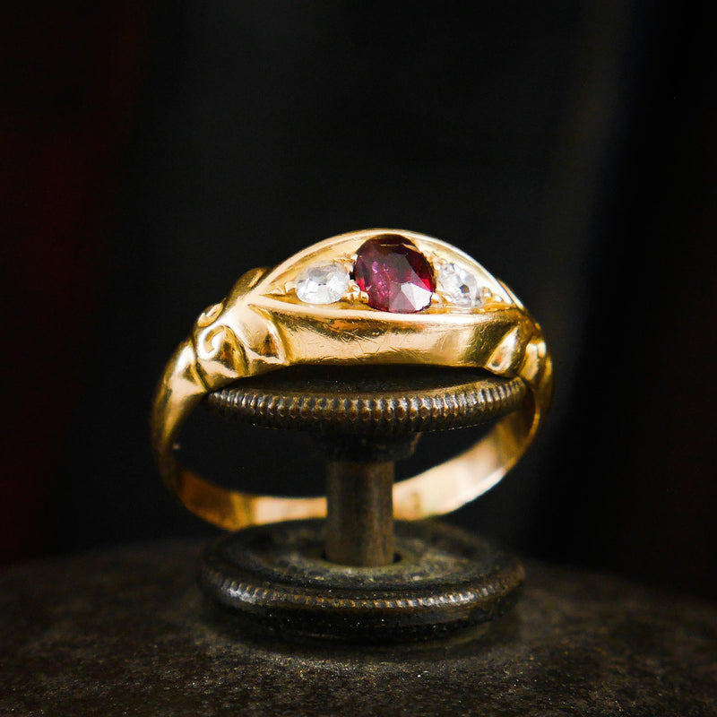 Date 1897 Blessed Little Ruby and Diamond Ring
