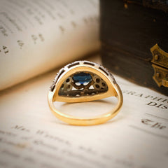 A Magnificent Vintage Sapphire & Rose Cut Diamond Ring