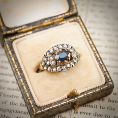 Vintage Sapphire & Rose Cut Diamond Ring