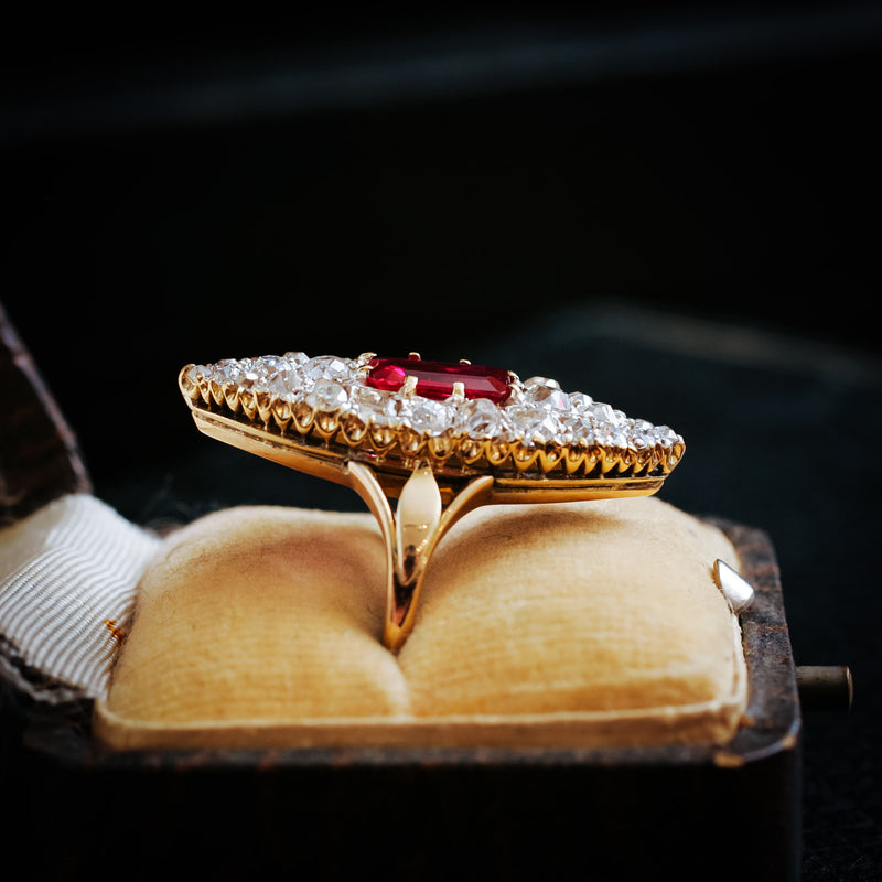 OH My Goodness!! Mesmerising Marvellous Marquise Ruby & Diamond Ring