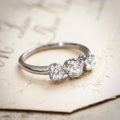 Audacious Vintage Platinum & Diamond Trilogy Engagement Ring