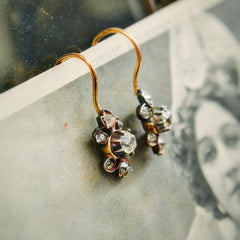 Antique Hand Cut Diamond 'Poissarde' Style Earrings