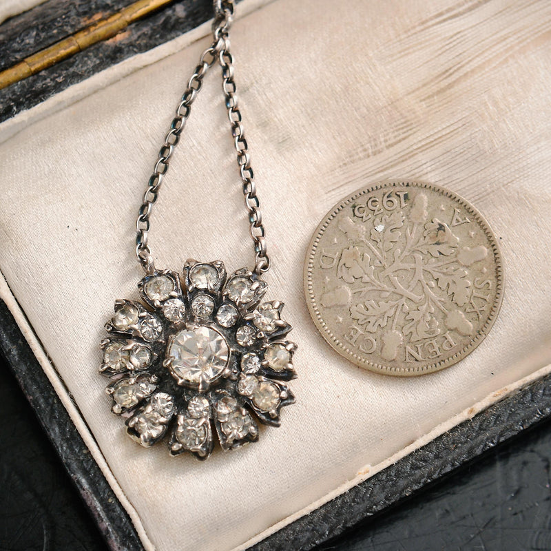 Darling Daisy Antique Paste & Silver Pendant