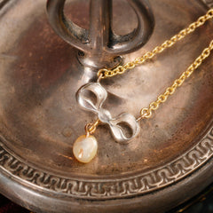 Blessed Little Antique Diamond & Pearl Bow Necklace