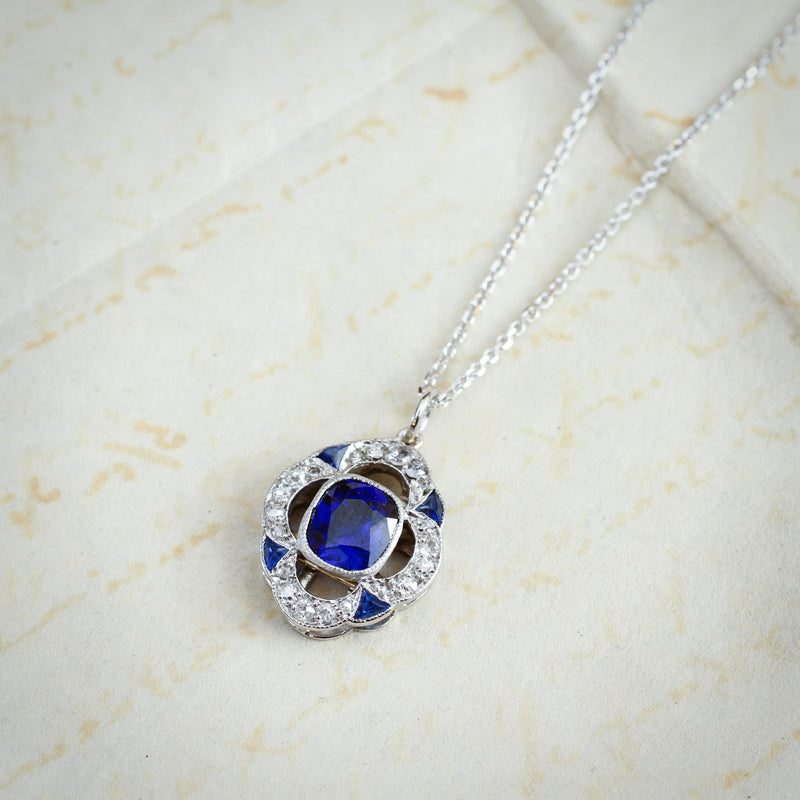 Rhapsody in Blue! Art Deco Sapphire & Diamond Pendant