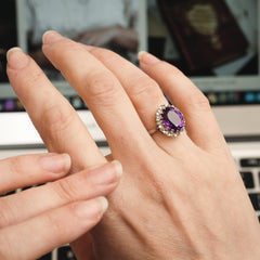 Alluring Vintage Amethyst and Diamond Cluster Cocktail Dress Ring