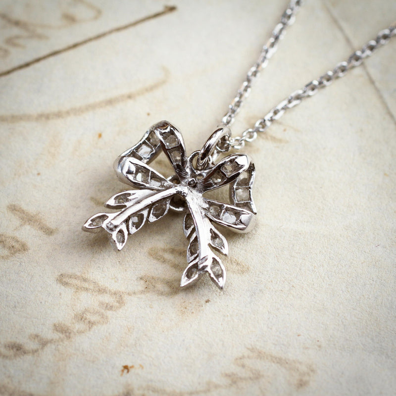 Sweeeet Li'l Antique Rose Cut Diamond Bow Pendant