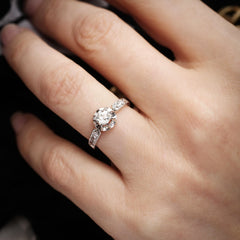Vintage French Mid Century Diamond Engagement Ring