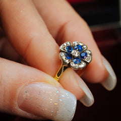 Romantique Antique Sapphire and Diamond 'Pansy' Ring