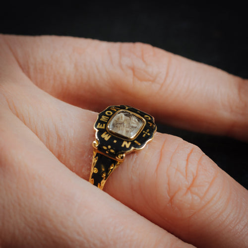 Sentimental Antique Victorian Date 1857 Enamelled Mourning Ring