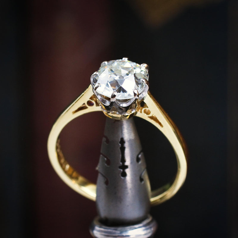 Oh Romantic Soul! 1.20ct Antique Mine Cut Diamond Engagement Ring