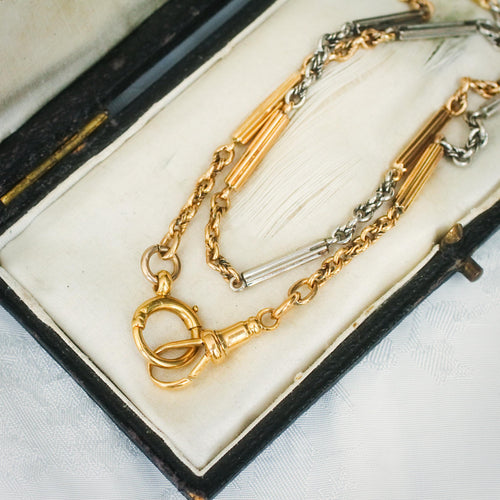 Luxurious Vintage 18ct Gold Watch Chain Necklace