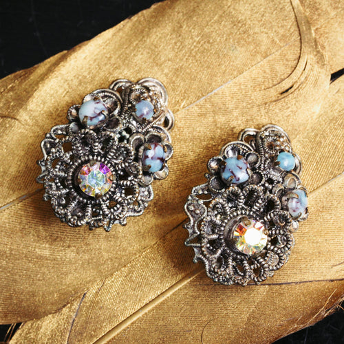 Beautiful 1940's Bohemian Glass Filigree Clips