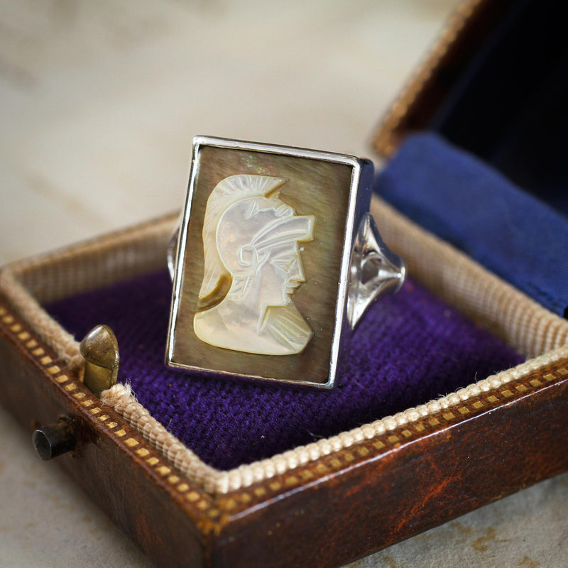 Statement Hand Carved Centurion Shell Cameo Ring
