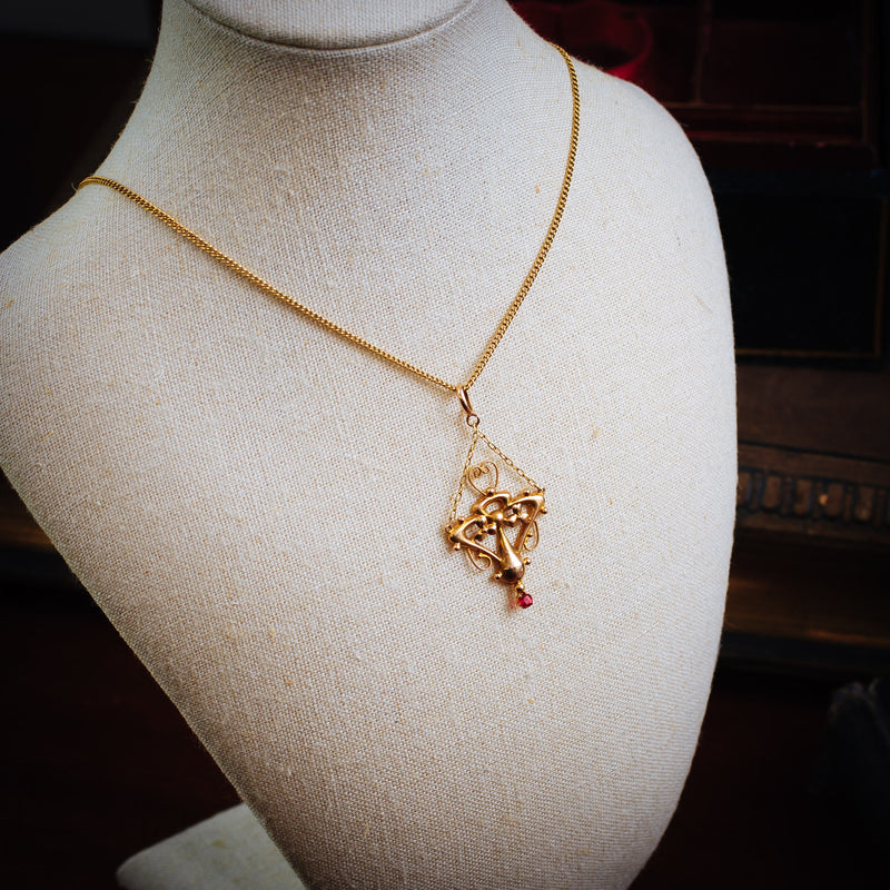 Artistically Inclined Antique Edwardian 9ct Gold Pendant
