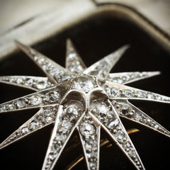 A Shimmering Splendour! Antique Victorian Diamond Starburst Brooch