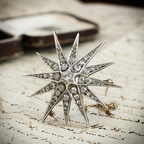 Antique Victorian Diamond Starburst Brooch