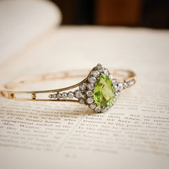 Grandiloquent Victorian Peridot & Diamond Convertible Bangle