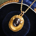 Glorious Etruscan Revival Cabochon Garnet Locket Pendant