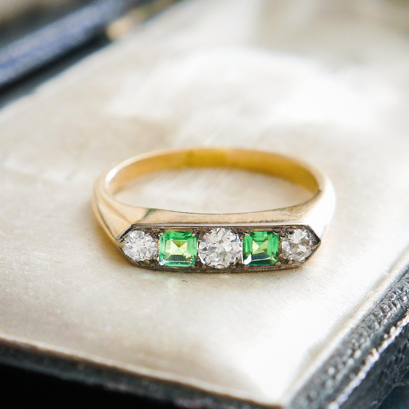Wistfully Unusual Vintage Emerald & Diamond Half Hoop Ring