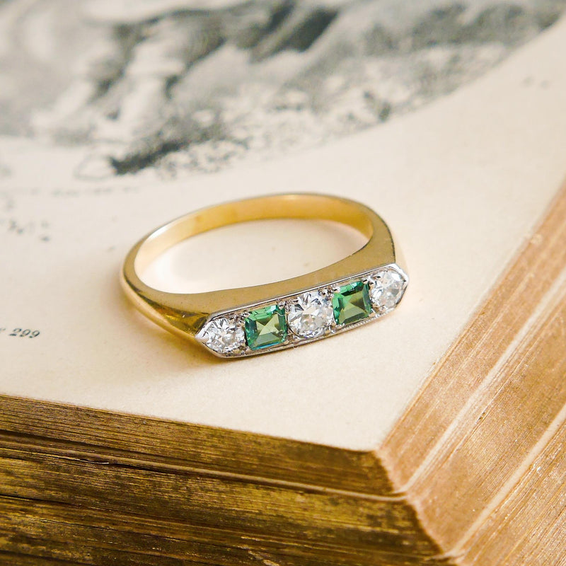 Vintage Emerald & Diamond Half Hoop Ring