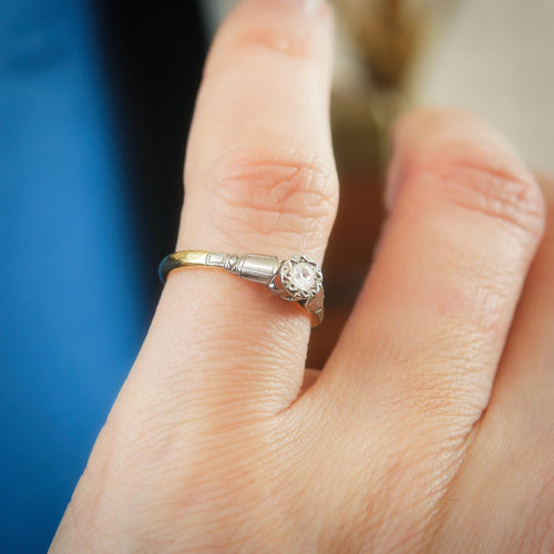 Darling Little Vintage Diamond Solitaire Engagement Ring