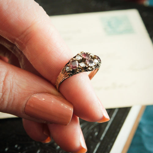 Antique Victorian Cannetille Spinel and Rose Cut Diamond Ring