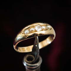 Victorian Date 1888 Pearl and Diamond Band Ring