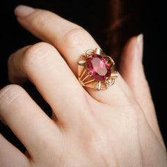 Attention Seeking Extravagant Handmade Vintage Russian Verneuil Ruby Dress Ring