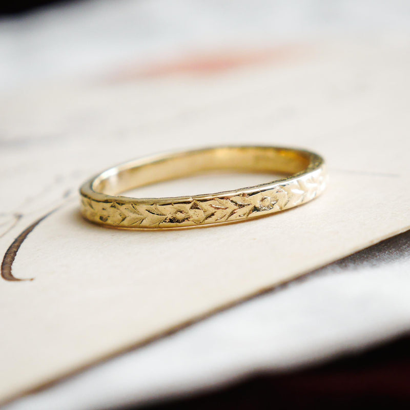 Vintage Style 'Florette' Gold Wedding Ring