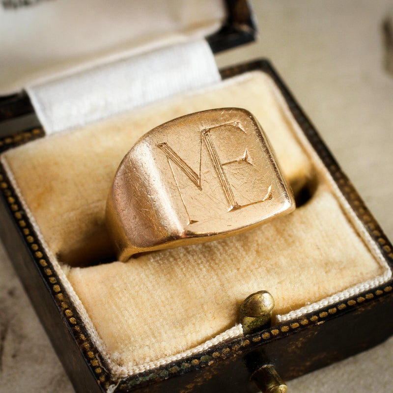 Heavy Date 1986 9ct Gold 'ME' Signet Ring