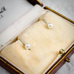 Rare Baroque Antique Natural Saltwater Pearl & 18ct Gold Stud Earrings