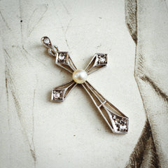 Antique French Diamond & Natural Pearl Cross Pendant