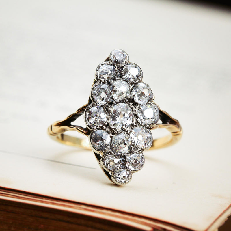 Supreme Majesty! Antique Marquise Diamond Cluster Ring