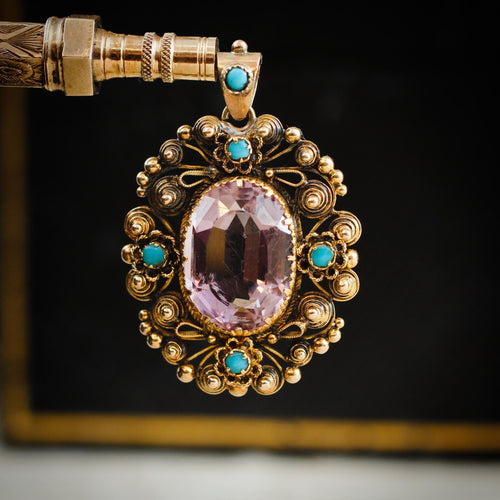 Antique Georgian Cannetille Amethyst & Turquoise Pendant