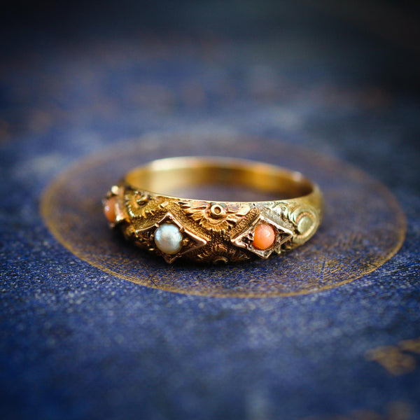 Rare Precious Date 1875 Etruscan Revival Coral & Pearl Ring