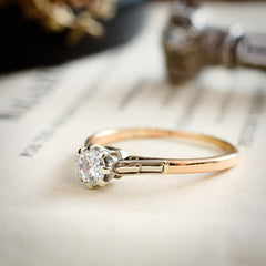 Early Brilliant-cut Diamond Solitaire Engagement Ring