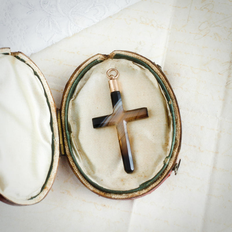 Victorian Scottish Banded Agate Cross Pendant