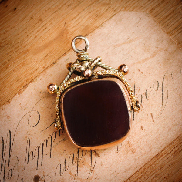 Date 1897 9ct Gold Heliothrope & Carnelian Swivel Fob