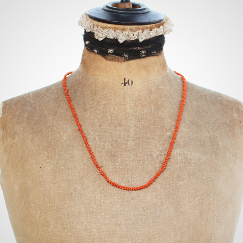 Precious Hand Carved Antique Georgian Coral Necklace