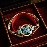 Early Victorian Ruby, Turquoise Enamel Gold Snake Chain Bracelet