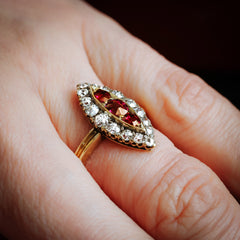Nicely Nostalgic Antique Navette Ruby and Diamond Ring