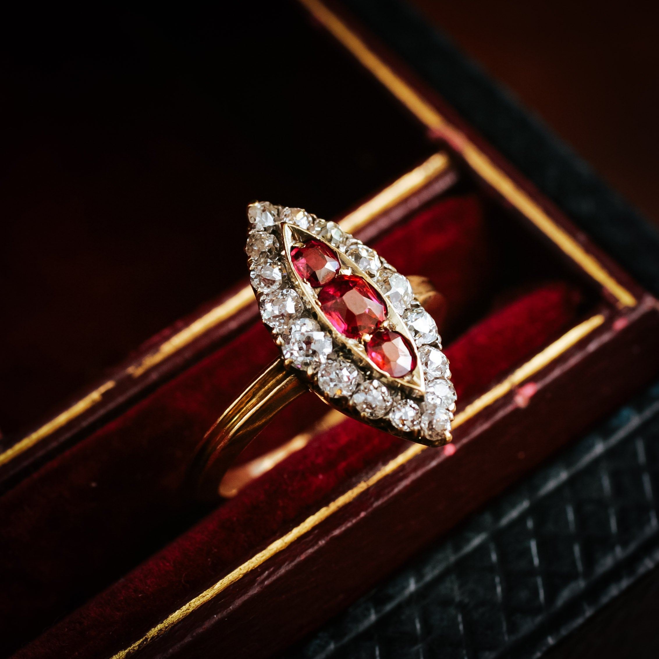diamond victorian double lane antiques ring row ruby butter products